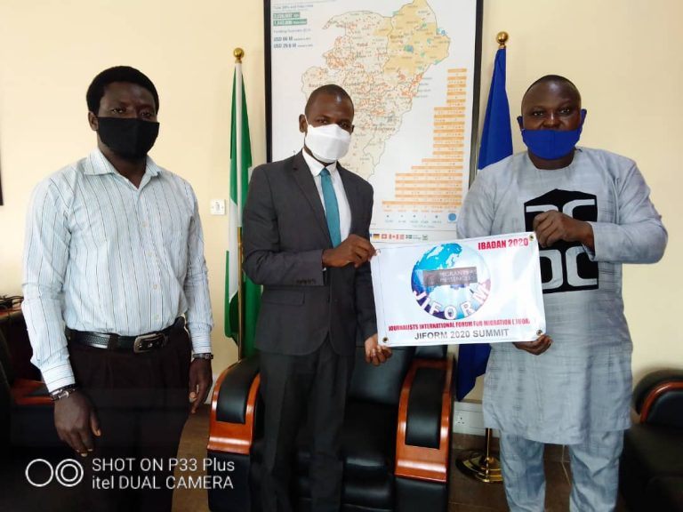 From right: President, JIFORM, Ajibola Abayomi, Chief of Mission International Organization for Migration (IOM), Nigeria, Mr Frantz Celestin and Joseph Seater, a member of JIFORM at the IOM office in Abuja in 2020.